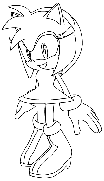 sonic amy swimming coloring pages | Amy Sonic Heroes by Glammies-lineart on DeviantArt