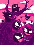 Gengar, Haunter and Gastly - Pokemon by Shoscombe