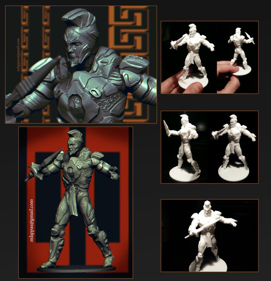 Futuristic Spartan 3D sculpt n Miniature by mlappas
