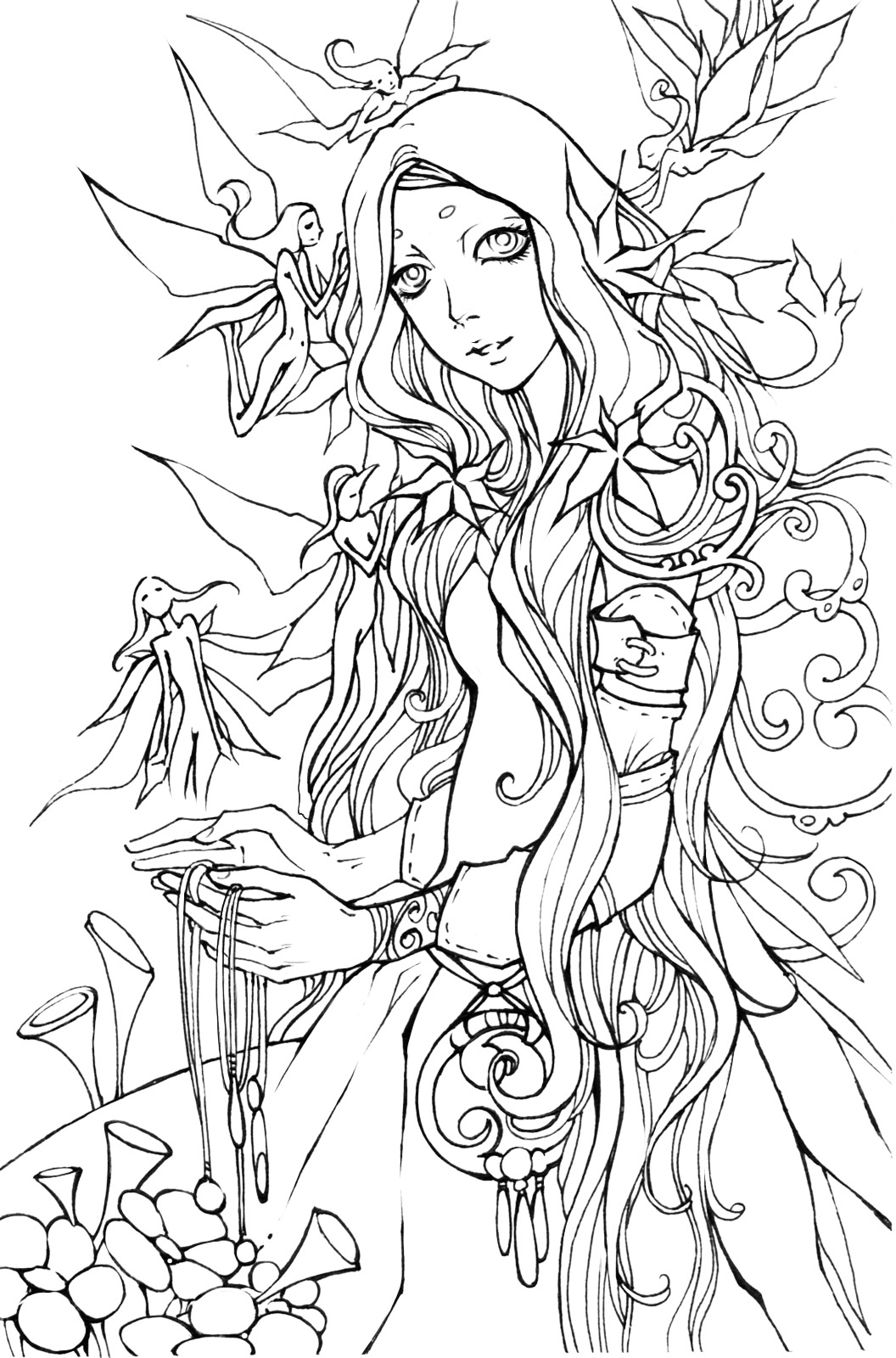 manga fairy coloring pages - flower girl 2 by haalu on deviantart