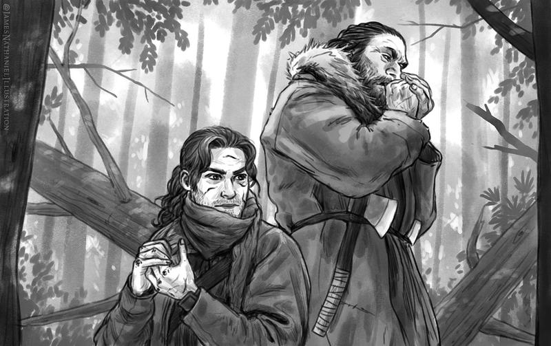 A man and a giant by JNathanIllustration