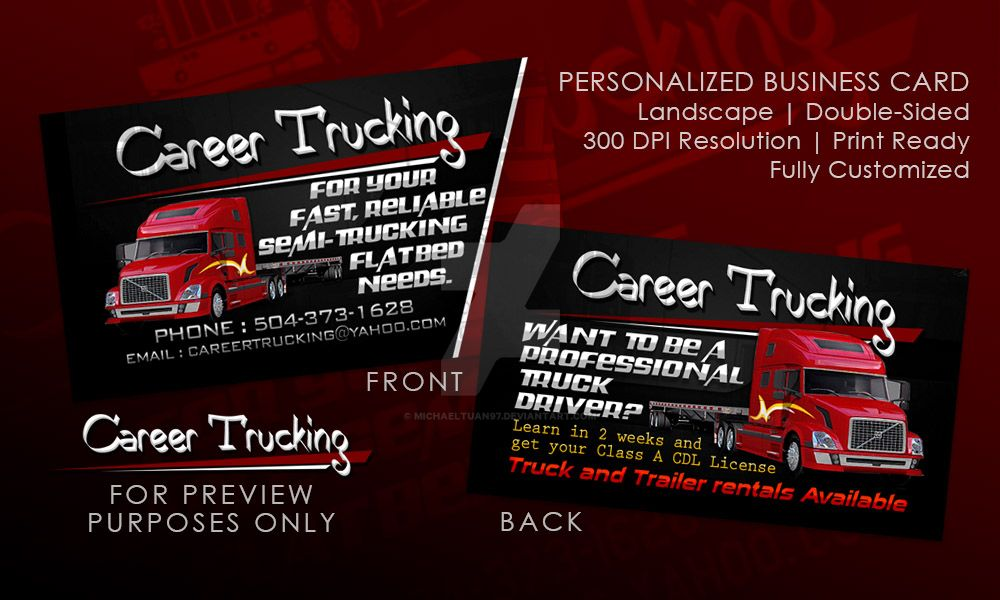 Career trucking business card by michaeltuan97 on deviantart for Trucking business card design