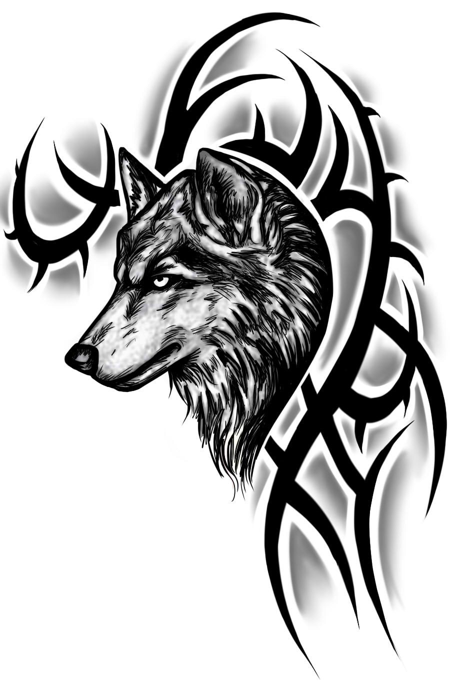 Tribal wolf tattoo design by instilledphear