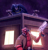 Hellboy Comes to GothamCOLORED by JoshawaFrost