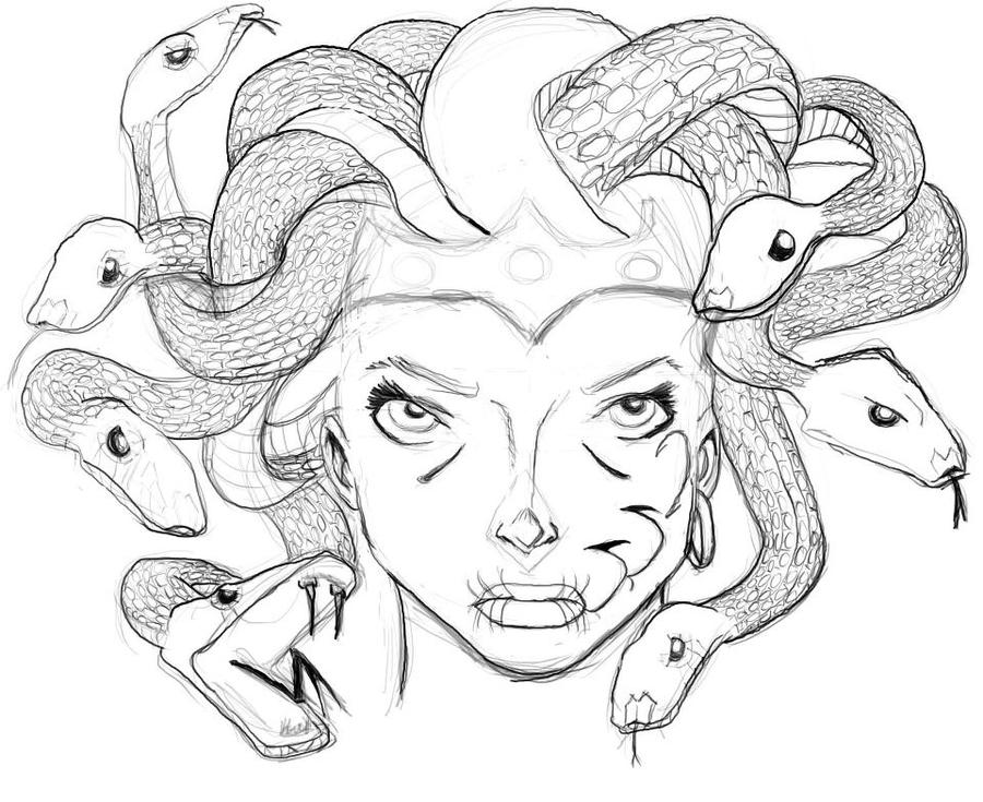 easy medusa drawing sketch coloring page