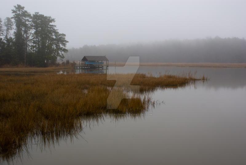 Foggy Boat Dock by poetcrystaldawn