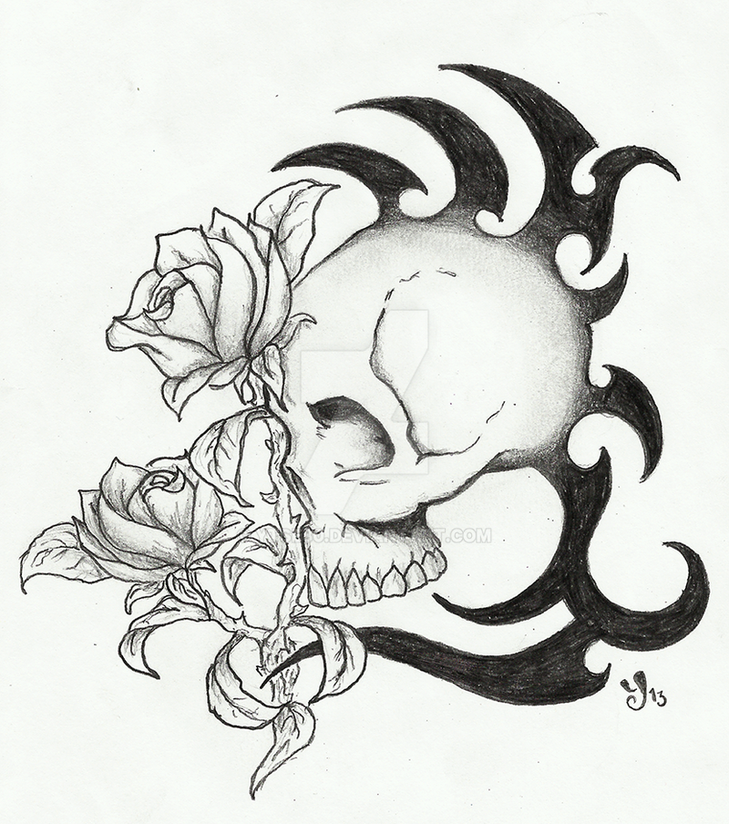 Skull With Tribal And Roses Tattoo Design By Ytse80 On Deviantart