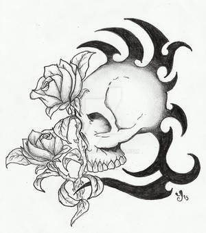 .: Skull with tribal and roses tattoo design:.