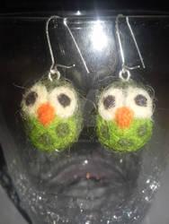 .: Needle felted owl earrings :.