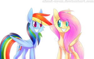 Fluttershy and Rainbow Dash smiling:3 by AlenD-nyan