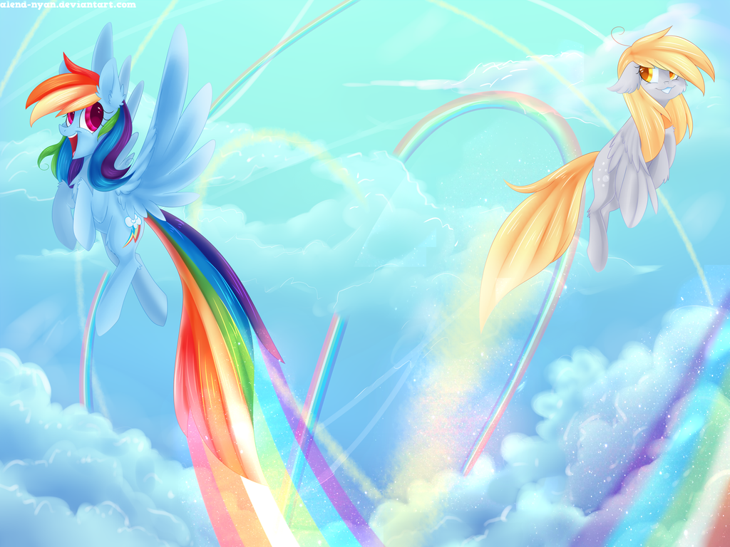 Derpy and Rainbow Dash flying in the sky by AlenD-nyan on ...