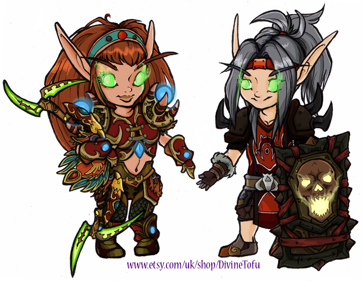 Wow Chibi Blood Elf Hunter And Blood Elf Warrior By Divinetofu On