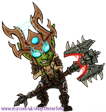 WoW Chibi: Goblin Death Knight by DivineTofu