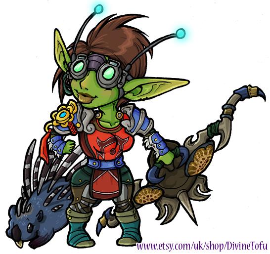 WoW Chibi: Goblin Hunter by DivineTofu