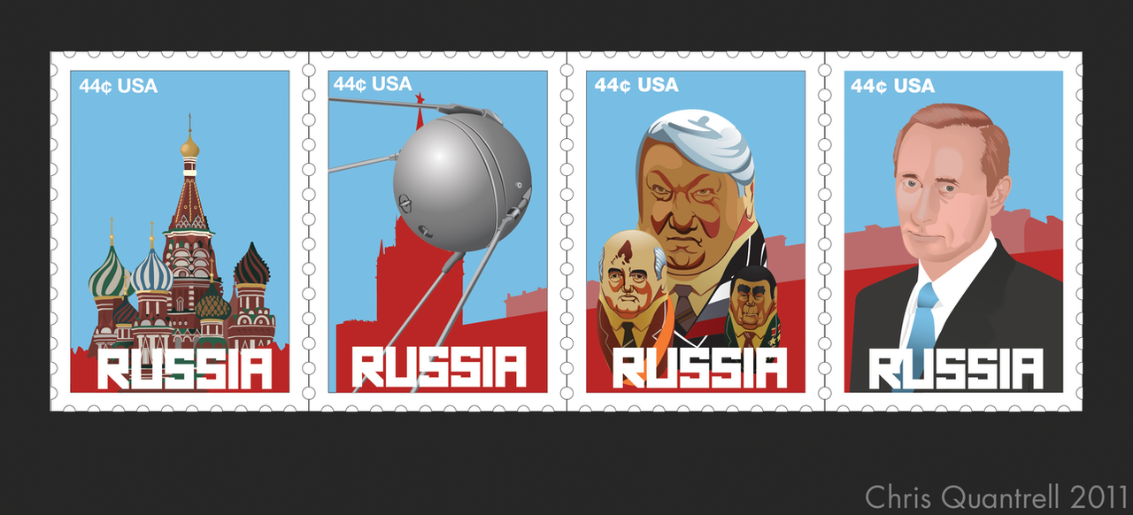 Russian Themed Postage Stamps by R3YNO