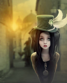 Girl with green hat