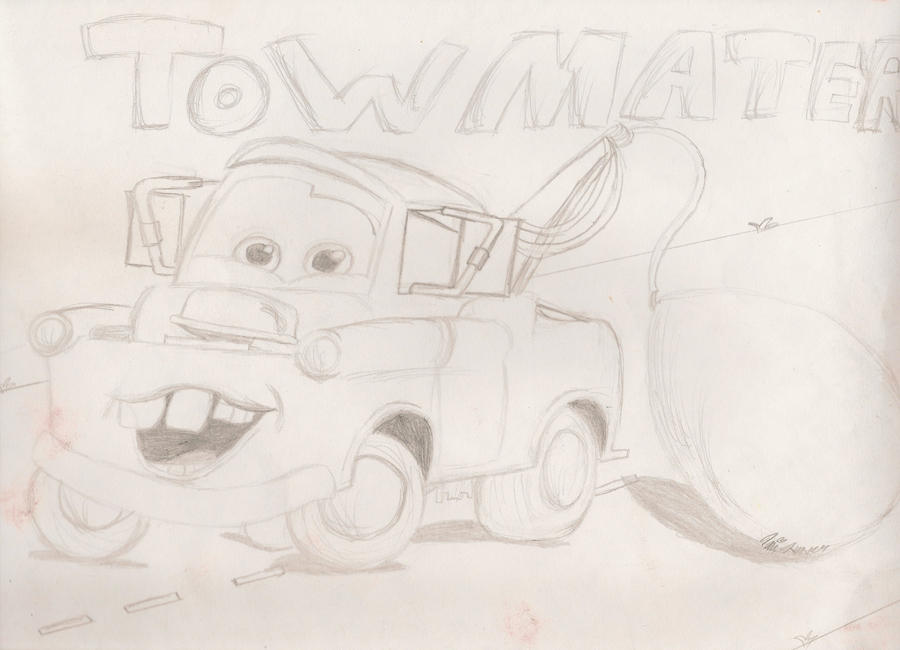 how to draw tow mater