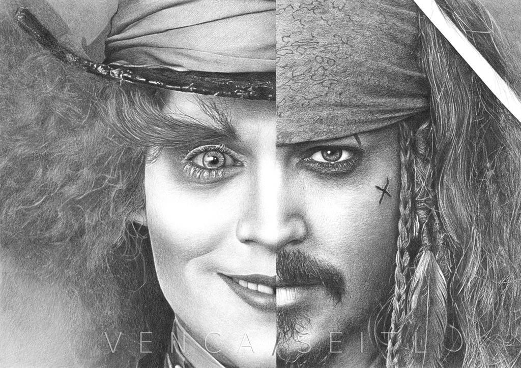 Two faces of johnny depp by vencaseitl on deviantart - Dessin johnny depp ...