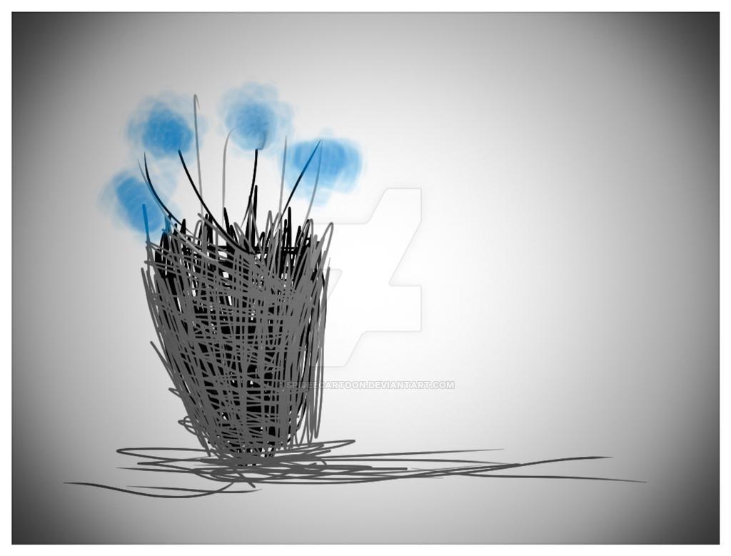 Blue flowers by Spideecartoon