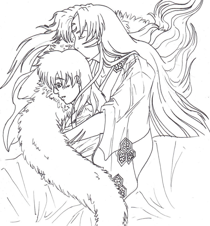 Unspoiled Sesshomaru And Kagome Sketch By Kitsunefire7