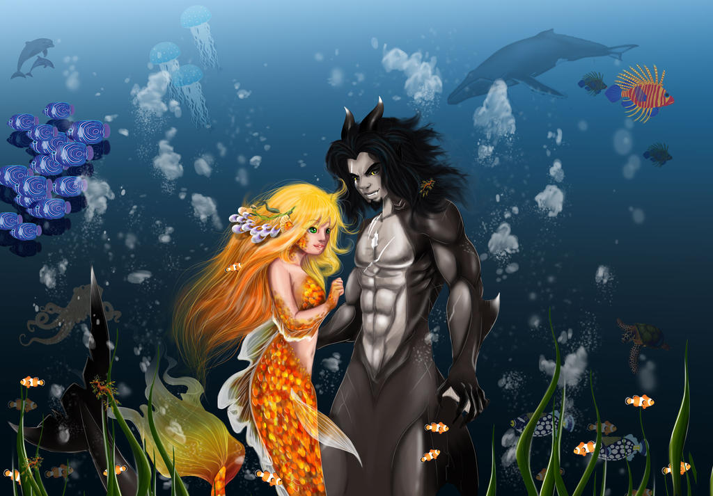 Damion and Sophie, Under the sea by kitsunefire7
