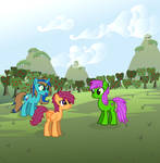 Blueberry Muffin, Skybreeze and Scootaloo