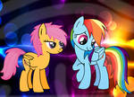 Scootaloo and Rainbow Dash.