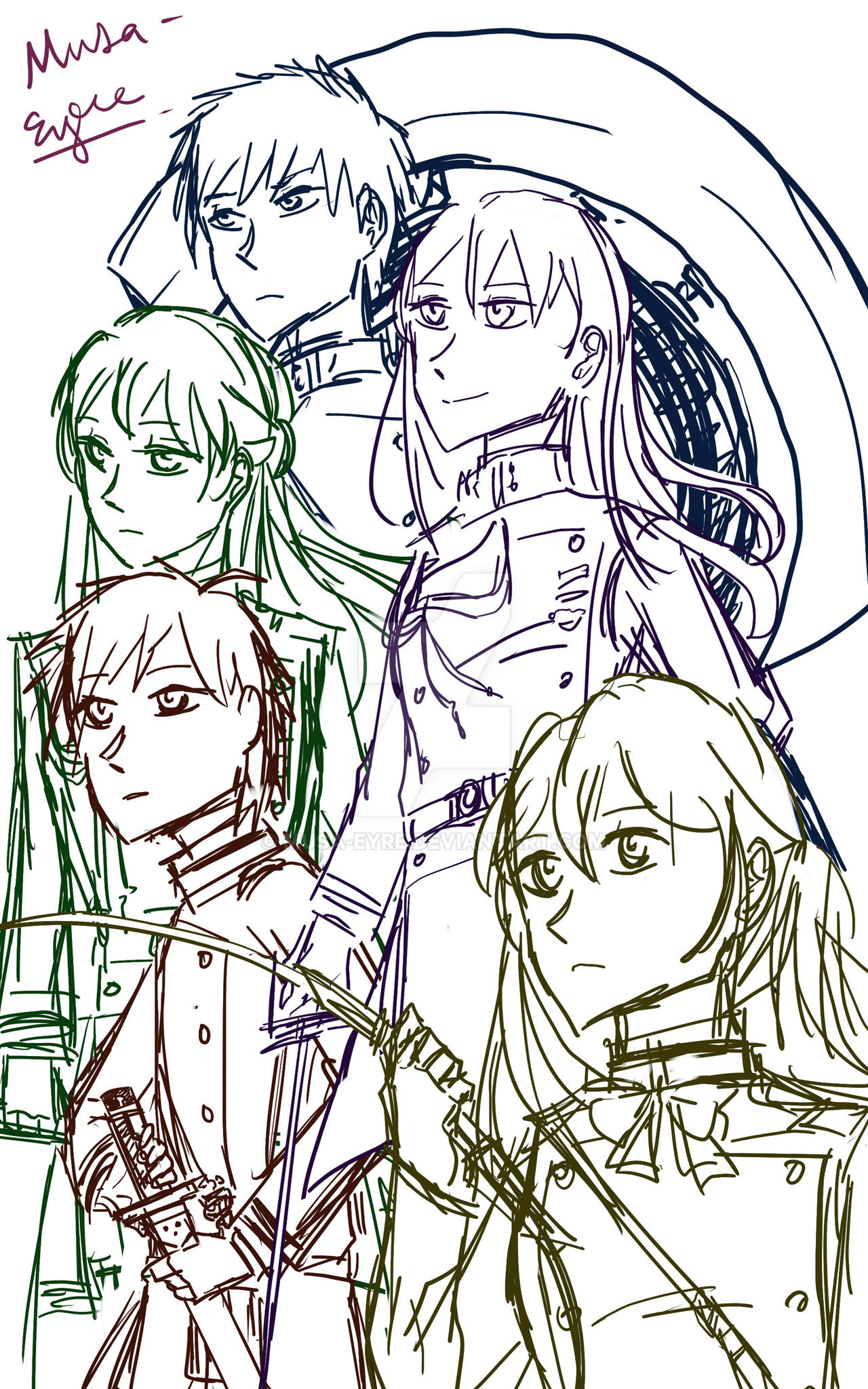 Miho Squad sketch by Musa-Eyre