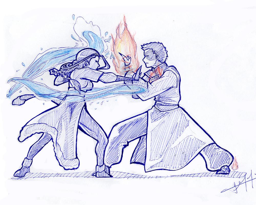 Zutara Fight by zarrah-chan