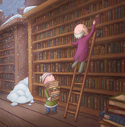 The Library by tommytittlesart