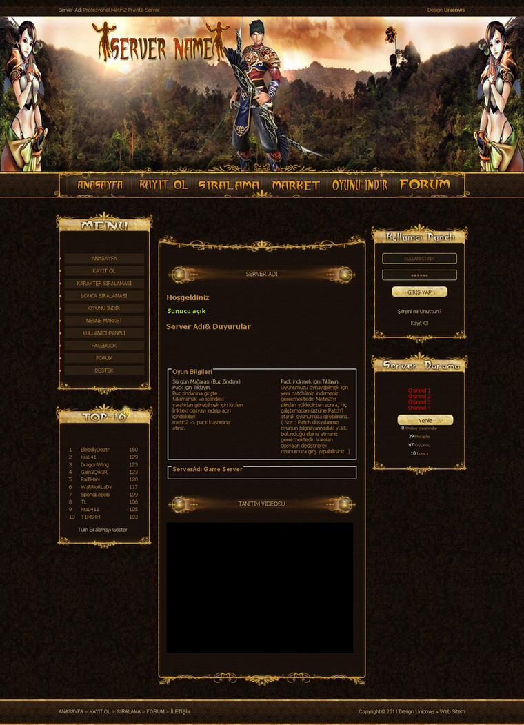 metin2 web template by unicows on deviantart