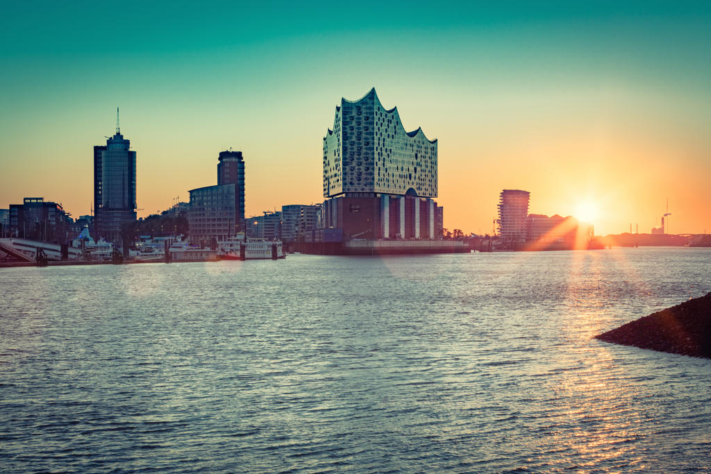 Hamburg Elbphilharmonie at sunrise by abuethe