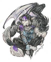 Huskie and Whitepaws by wielderofthewind