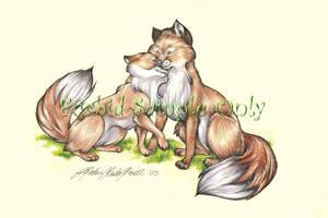 Spring Foxes by wielderofthewind
