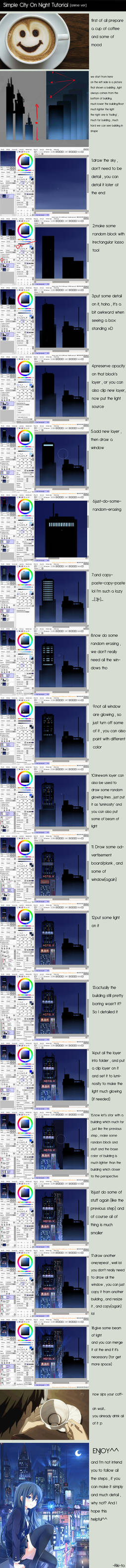 City On Night Tutorial [Paint Tool SAI]