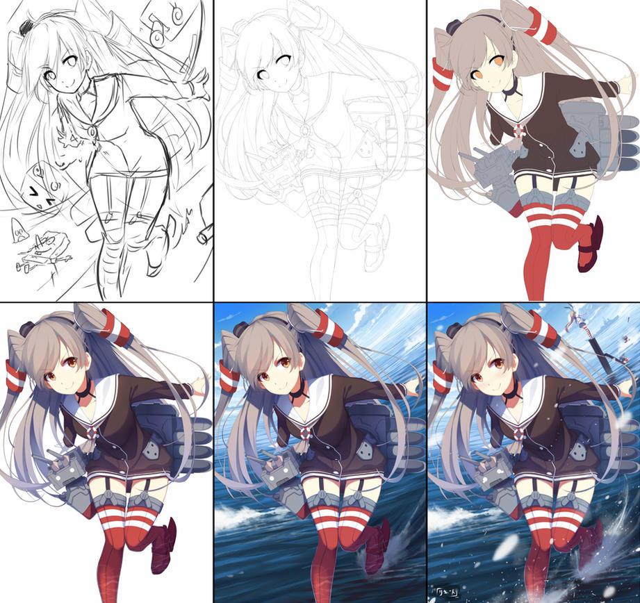 Ikou! drawing process by Riki-to