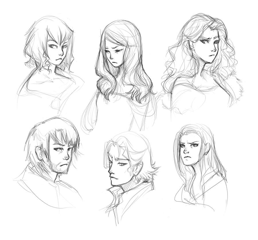 some head sketches by doven