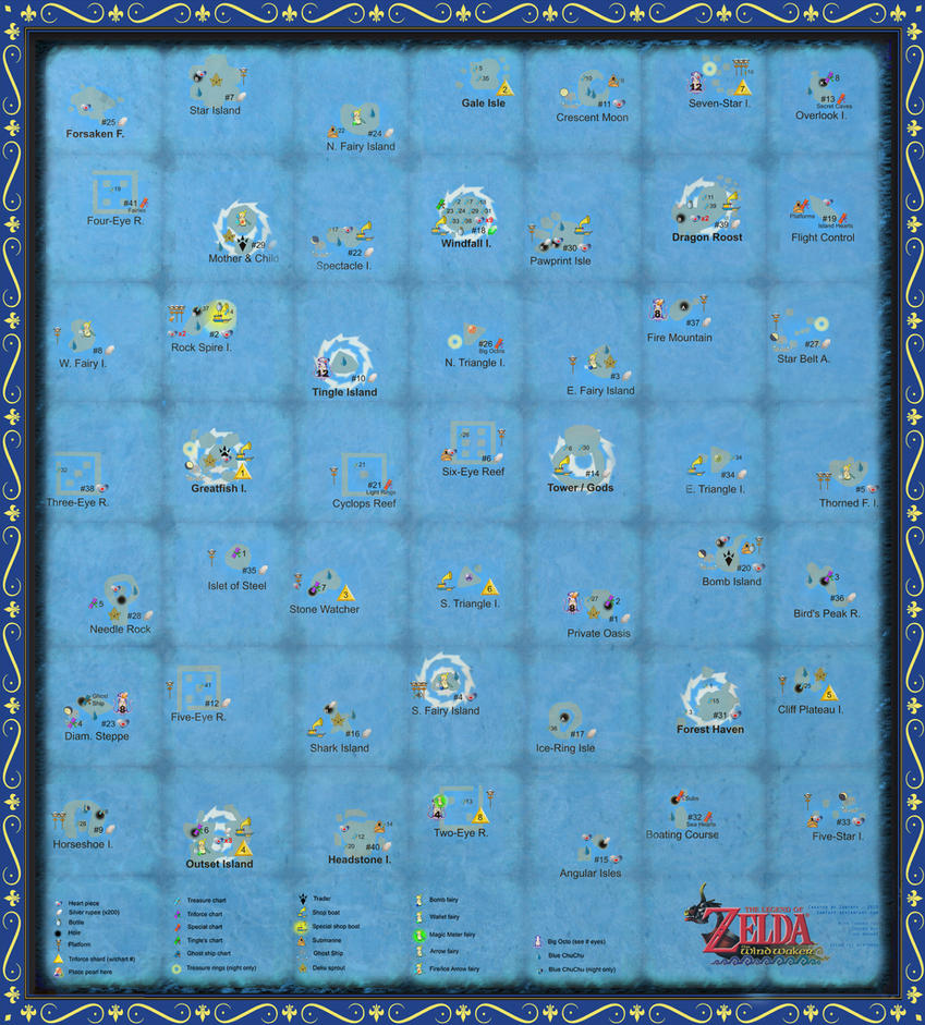 sea chart wind waker: The wind waker full sea chart very large scale by zantaff on