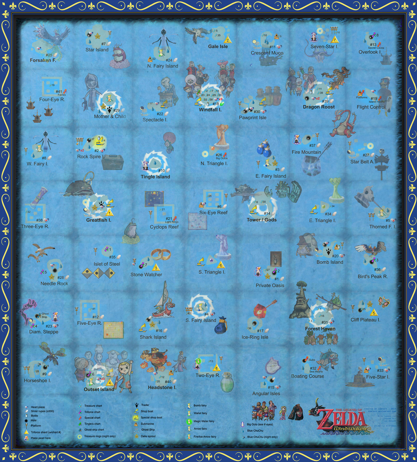 the wind waker full sea chart w pictures by zantaff on deviantart -  the wind waker full sea chart w pictures by zantaff