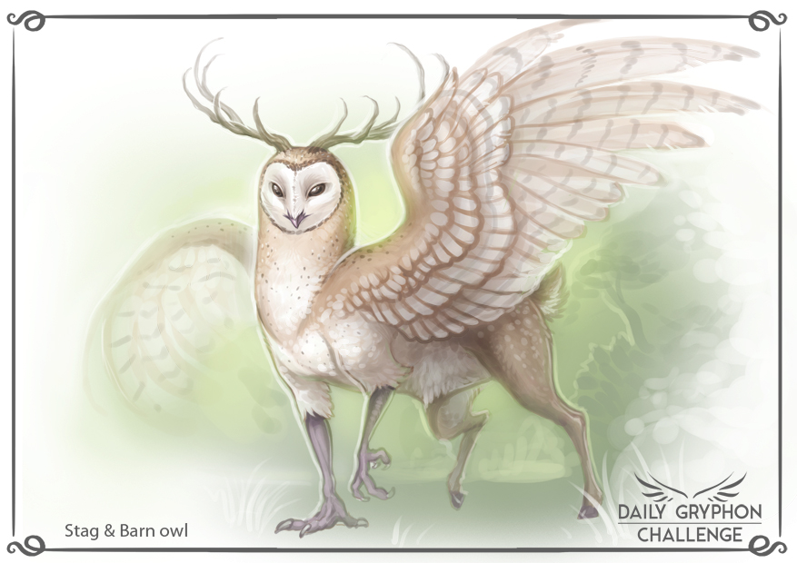 Gryphon Challenge 15 : Stag and Barn Owl by Pechschwinge on DeviantArt