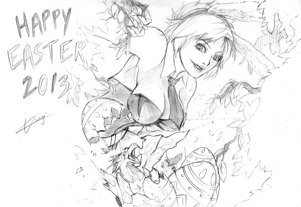 Happy Easter with Riven and Anivia by UsagiDzu
