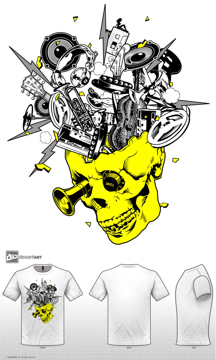 Skull music T-shirt by ElPino0921