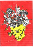 Skull music T-shirt flyer by ElPino0921