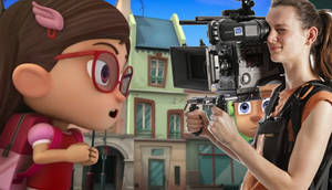 Amaya chatting with the camerawoman