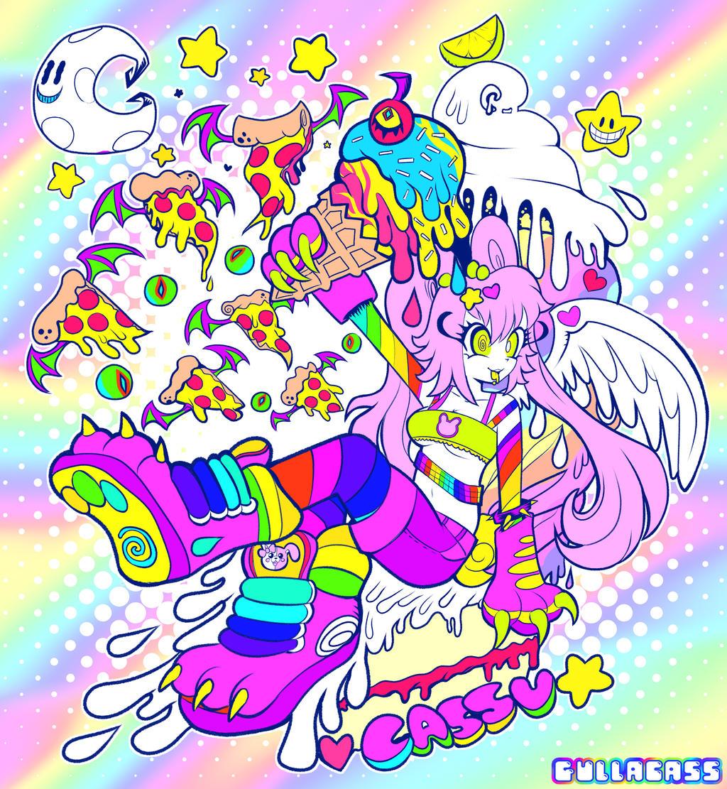 neon cassu pizza rainbow party xtreme by Gullacass