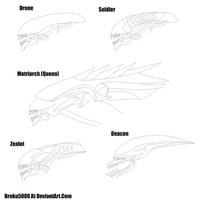 Xenomorph Heads by broku5000