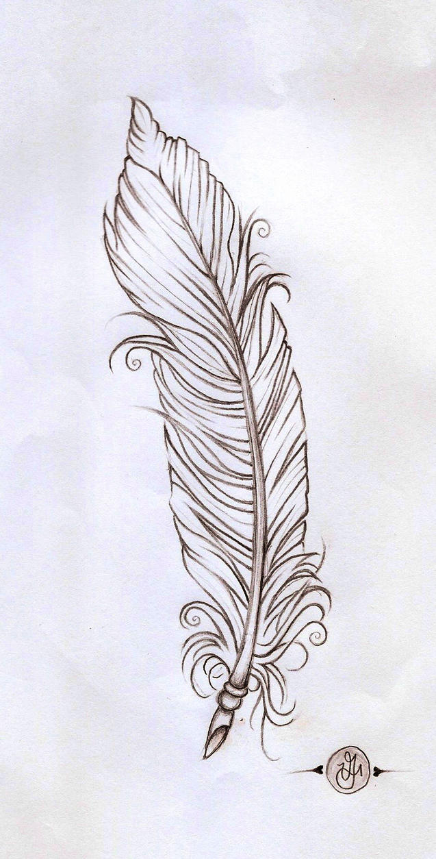 Line Drawing Of Quill : Feather linework by verisa on deviantart