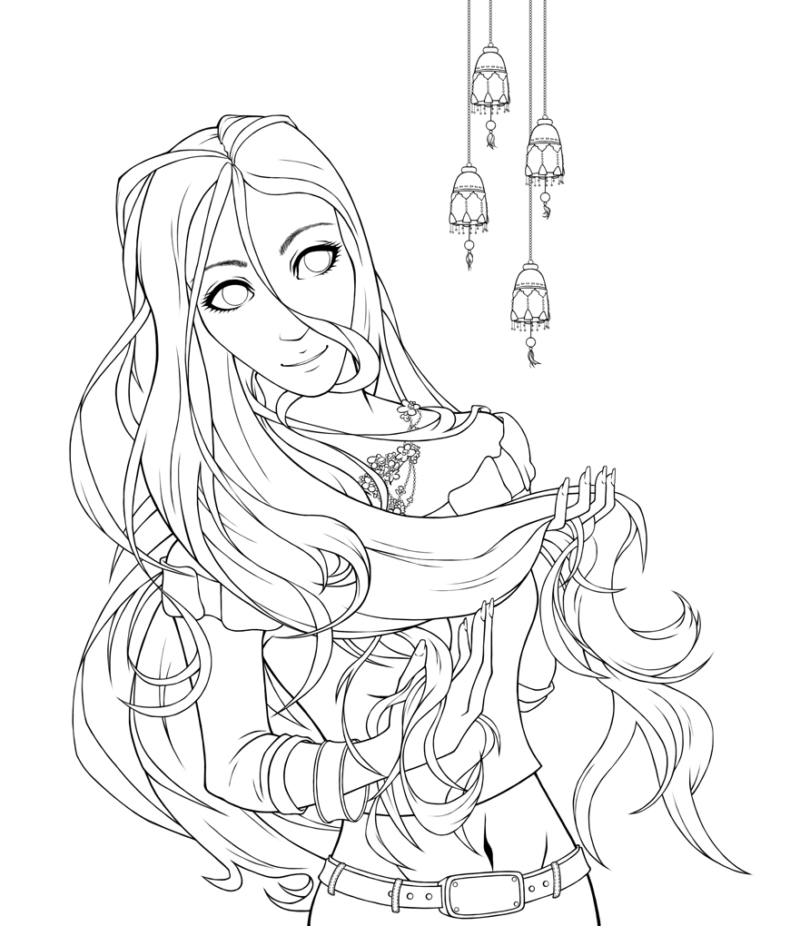 Line Drawing Of Girl : Girl lineart by swaja on deviantart