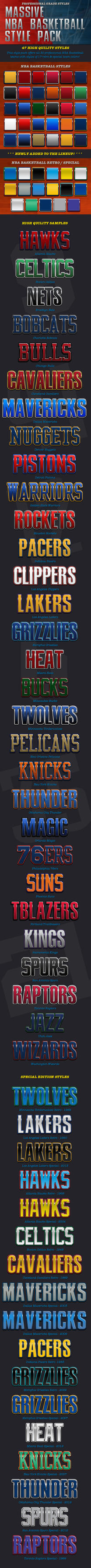 30 NBA Basketball Team Plus Extra Color Styles by caligrafx