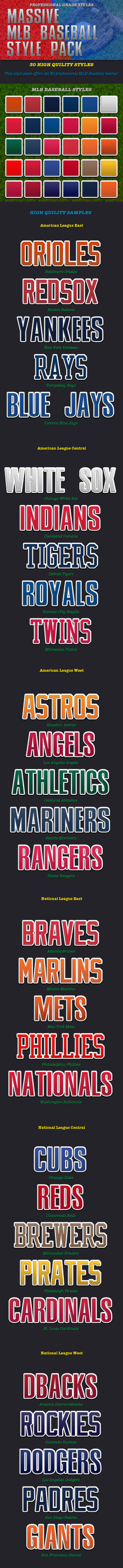 30 MLB Baseball Style Pack by caligrafx